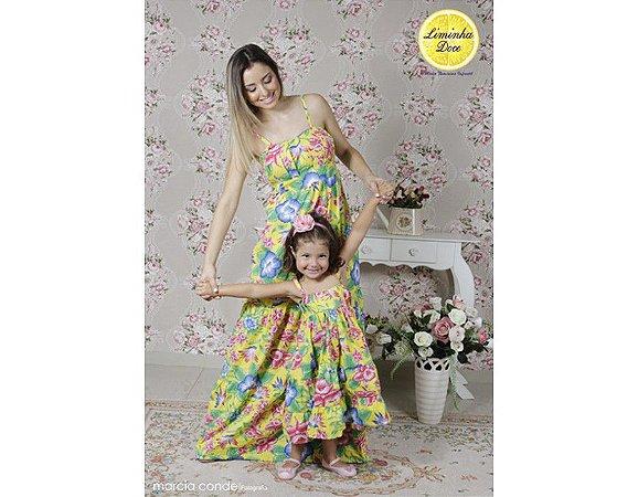 Vestido Longo Amarelo Floral - Tal Mãe Tal Filha