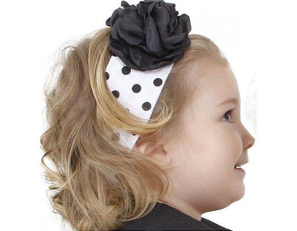 Faixa de Cabelo Infantil Branca com Preto