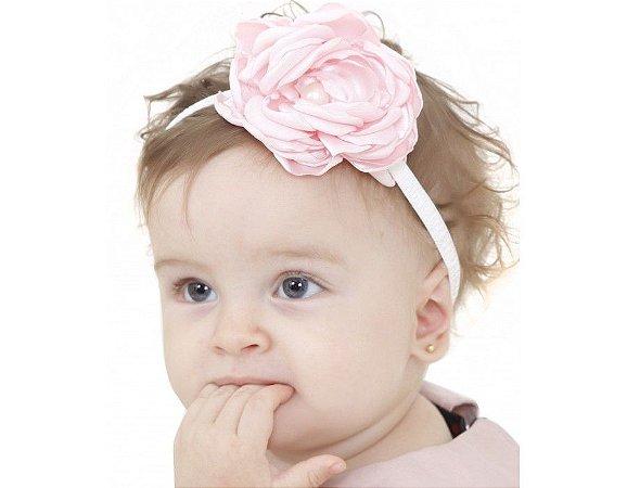 Faixa de Cabelo Infantil Branca com Rosa Claro