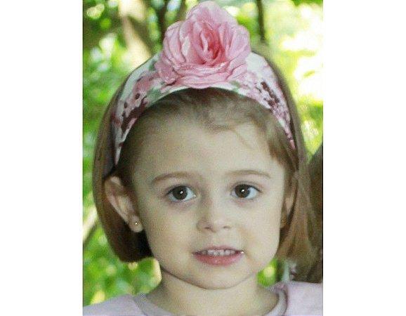 Faixa de Cabelo Infantil com Flor Rosa