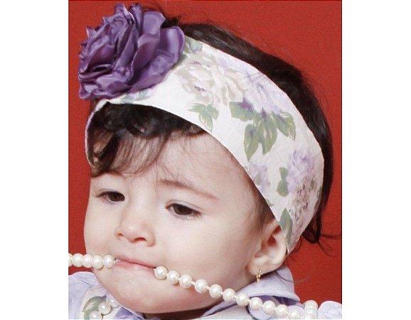 Faixa de Cabelo Infantil com Floral Lilás