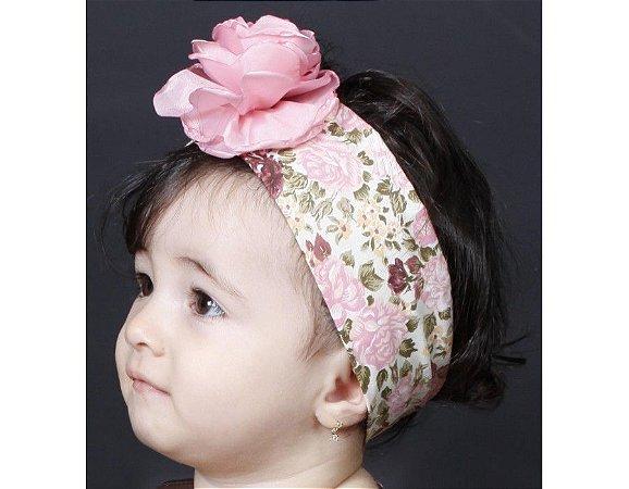 Faixa de Cabelo Infantil com Floral Rose