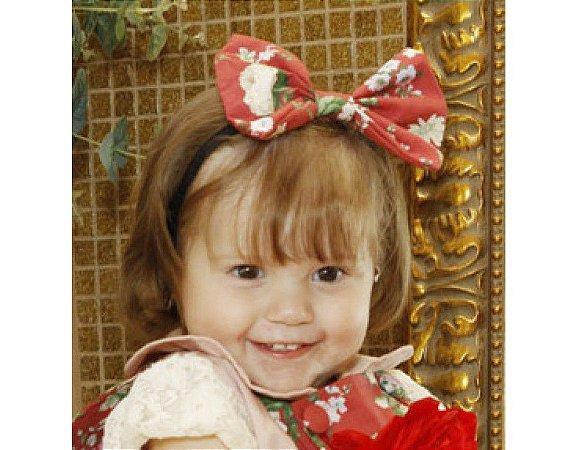 Faixa de Cabelo Infantil com Laço Vermelho