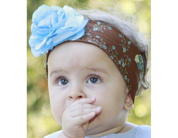 Faixa de Cabelo Infantil Marrom com Azul
