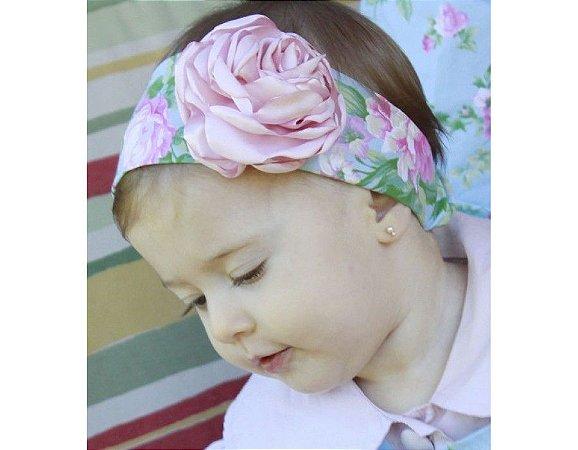 Faixa de Cabelo Infantil Floral Rosa
