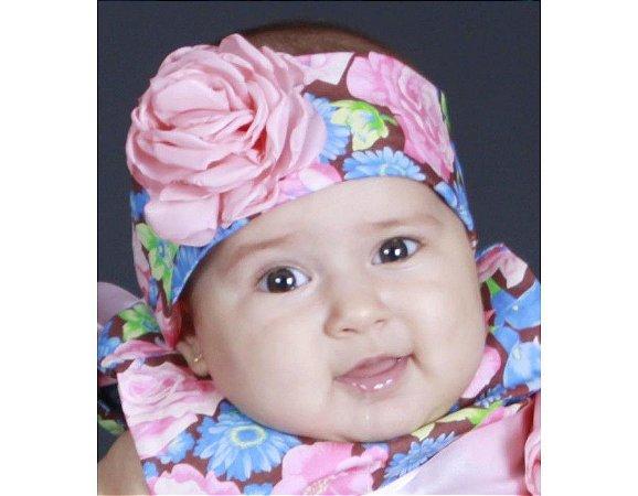 Faixa de Cabelo Infantil Marrom com Floral Rosa