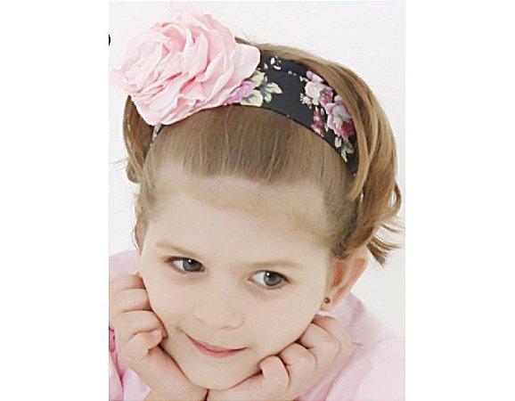 Faixa de Cabelo Infantil Preta com Floral Rosa