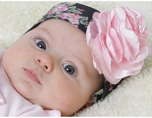 Faixa de Cabelo Infantil Preto com Rosa