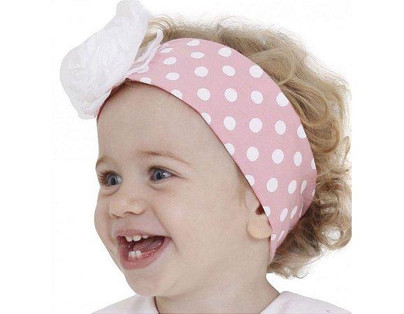Faixa de Cabelo Infantil Rosa com Branco