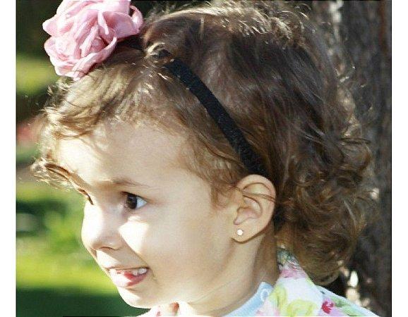 Faixa de Cabelo Infantil Rosa e Preta