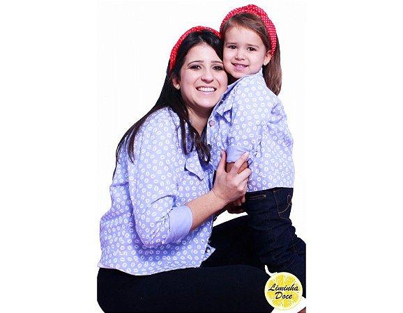 Camisa Jeans Claro Estampada - Tal Mãe Tal Filha