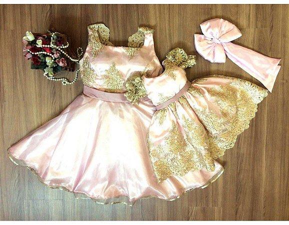 Vestido de Festa Rosa e Dourado - Mãe e Filha