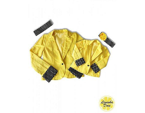 Casaco Amarelo com Detalhes de Bolinhas - Tal Mãe Tal Filha