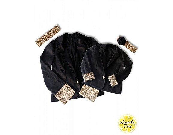 Casaco Preto com Detalhes de Oncinha - Tal Mãe Tal Filha
