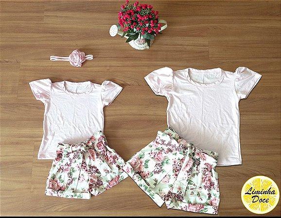 Conjunto Short Floral e Blusinha - Mãe e Filha
