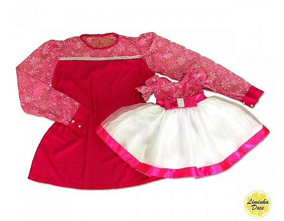 Conjunto Blusinha e Vestido Rosa Pink - Mãe e Filha