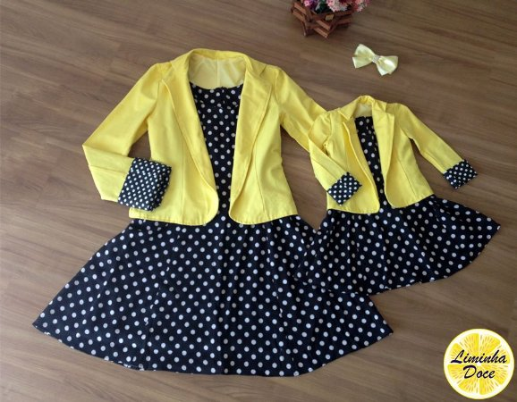 Conjunto Vestido Preto e Jaqueta Amarelo - Mãe e Filha