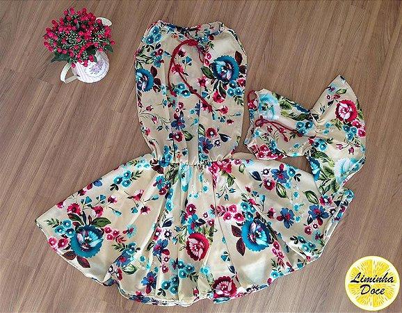 Vestido Bege Floral - Mãe e Filha