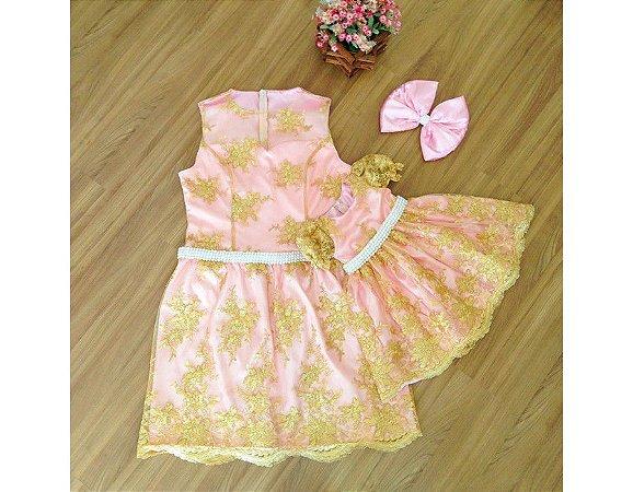 Vestido de Alta Costura Rosa e Dourado - Mãe e Filha