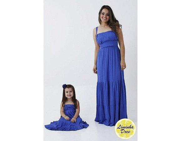 Conjunto Vestido Longo Azul - Tal Mãe Tal Filha