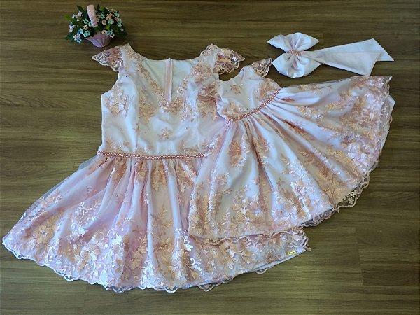 Vestido de Renda Rosa - Mãe e Filha