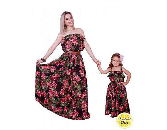 Vestido Longo Preto Floral Rosa - Tal Mãe Tal Filha