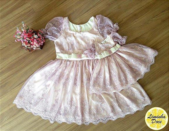 Vestido de Luxo Rosa - Mãe e Filha