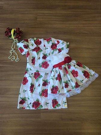 Vestido Floral Vermelho - Tal Mãe Tal Filha
