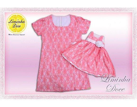 Vestido Social de Renda Rosa - Mãe e Filha