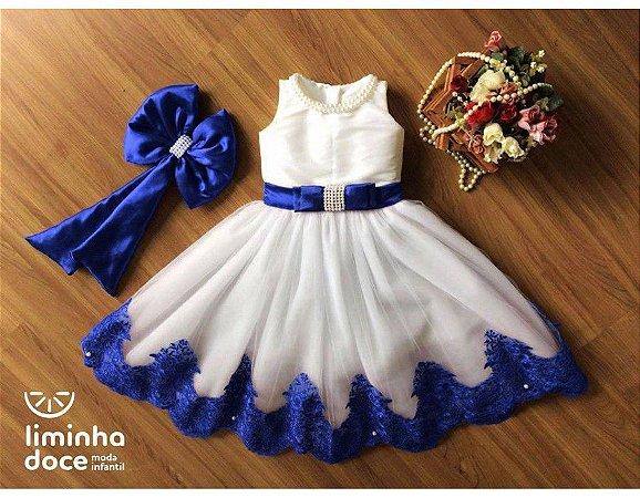 Vestido para Daminha Off White Azul - Infantil