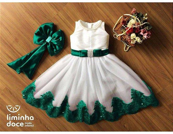 Vestido para Daminha Off White Verde - Infantil