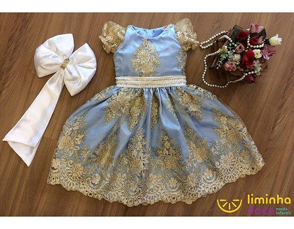 Vestido de Daminha de Luxo Azul com Dourado - Infantil
