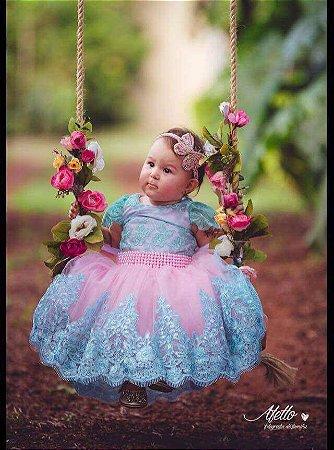 Vestido para Daminha Rosa com Verde Agua- Infantil