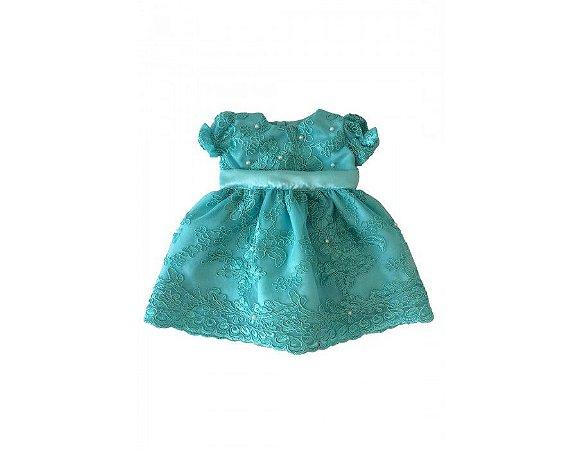 Vestido de Daminha de Luxo Verde Água - Infantil