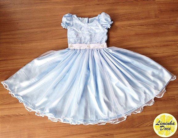 Vestido Azul Claro com Pérolas - Infantil