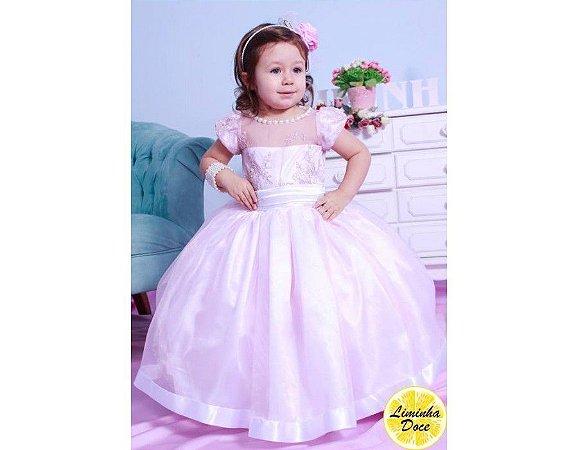 Vestido de Daminha Alta Costura Rosa - Infantil