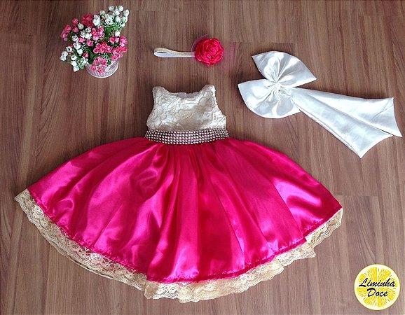 Vestido de Daminha Rosa Pink com Dourado - Infantil