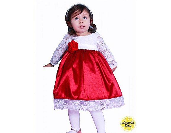 Vestido Vermelho com Renda - Infantil