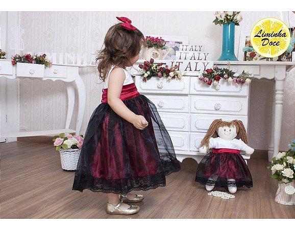 Vestido de Festa Branco, Preto e Vermelho - Menina Boneca