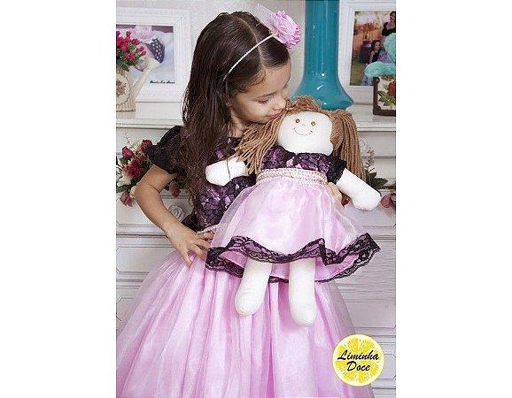 Vestido de Festa Rosa com Preto - Menina Boneca