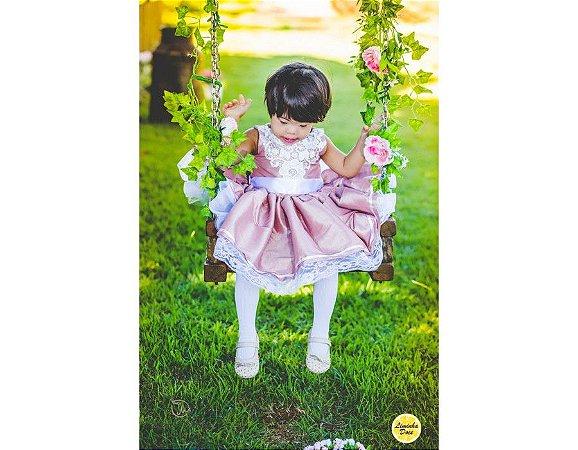 Vestido Social Rosa com Rendas - Infantil