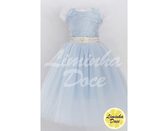 Vestido de Daminha Azul Claro com Tulê - Infantil