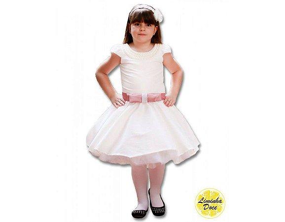 Vestido Social Branco com Rose - Infantil