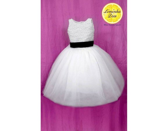 Vestido de Luxo Branco com Faixa Preta - Infantil