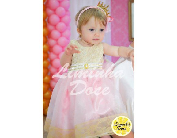 Vestido de Daminha Rosa com Dourado - Infantil