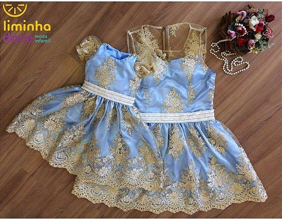 Vestido Azul Claro com Dourado - Mãe e Filha