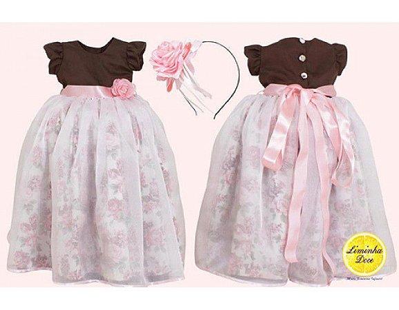 Vestido de Princesa Com Saiote de Tule - Infantil