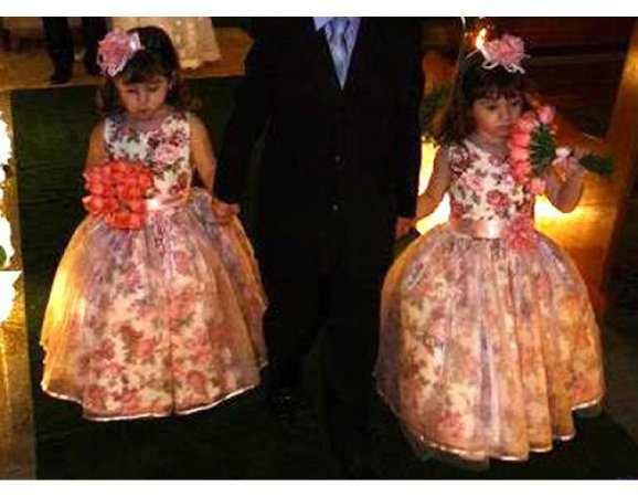 Vestido de Daminha Floral Rosa - Infantil