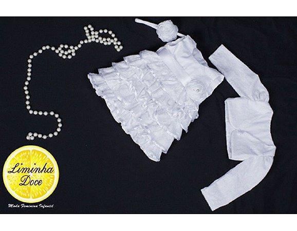 Vestido para Batizado de Renda Branca - Infantil