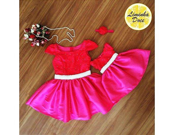 Vestido de Festa Rosa Pink - Mãe e Filha